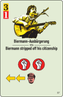 Musician loses his citizenship? Unrest in the East (red fist icons)! Card Biermann stripped off his citizenship, CC-BY-SA Histogame/Richard Shako.