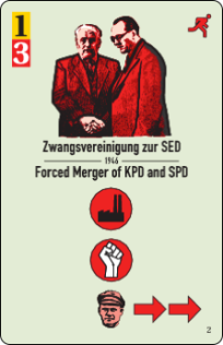 Forced merger of two parties? Unrest in the East (red fist icon!)! Card Forced Merger of KPD and SPD, CC-BY-SA Histogame/Richard Shako.