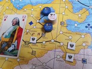 Then, Prussia counter-attacks the next turn - encircling and annihilating the diamonds-starved Austrians!