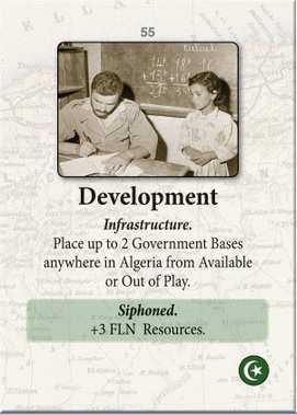 """Event card """"Development"""" from Colonial Twilight, ©GMT Games."""