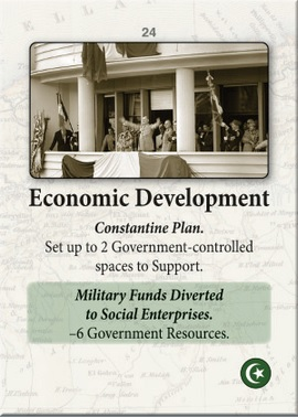 """Event card """"Economic Development"""" from Colonial Twilight, ©GMT Games."""