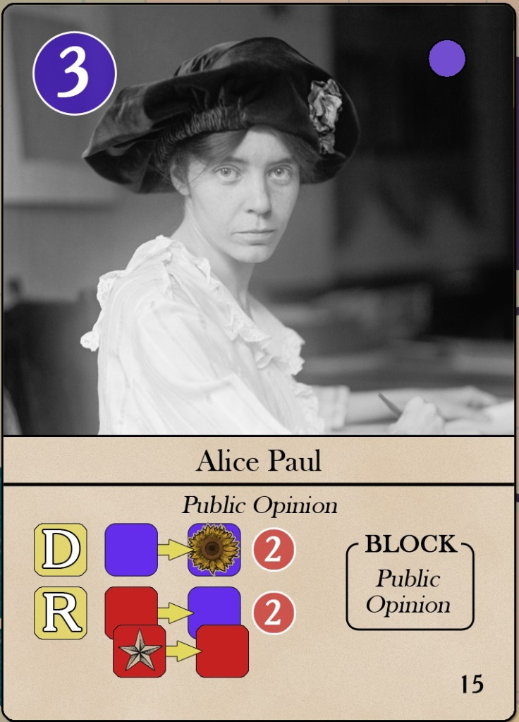 Iconic leaders of the American suffrage movement I: Card Alice Paul from The Vote, ©Hollandspiele.